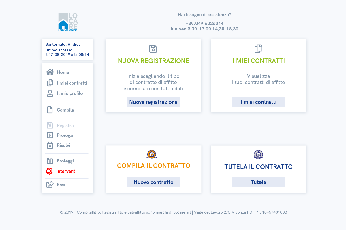 L'interfaccia di Registraffitto